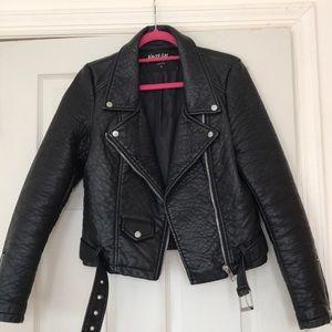 Leather biker style coat